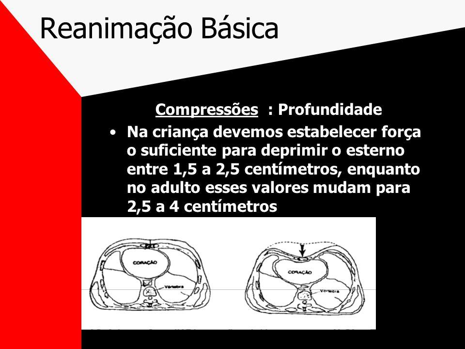 Reanimação Básica Compressões : Profundidade Na criança devemos estabelecer força o suficiente para deprimir o esterno entre 1,5 a 2,5 centímetros, enquanto no adulto esses valores mudam para 2,5 a 4 centímetros