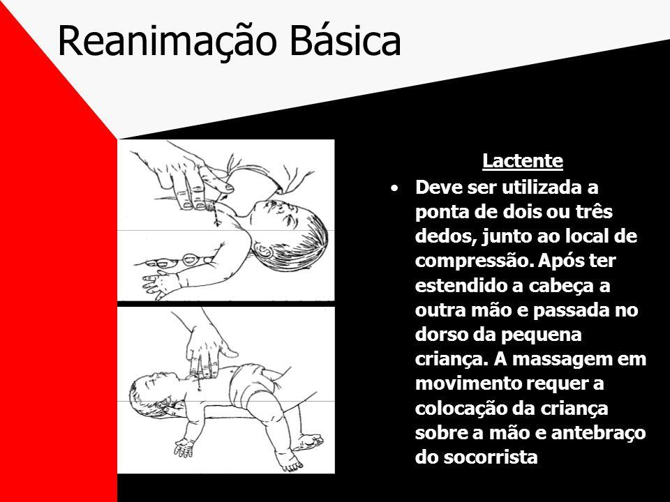 Reanimação Básica Lactente Deve ser utilizada a ponta de dois ou três dedos, junto ao local de compressão.