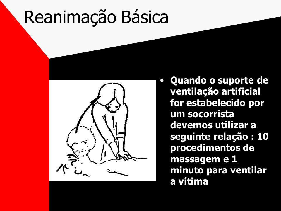 Reanimação Básica Quando o suporte de ventilação artificial for estabelecido por um socorrista devemos utilizar a seguinte relação : 10 procedimentos de massagem e 1 minuto para ventilar a vítima