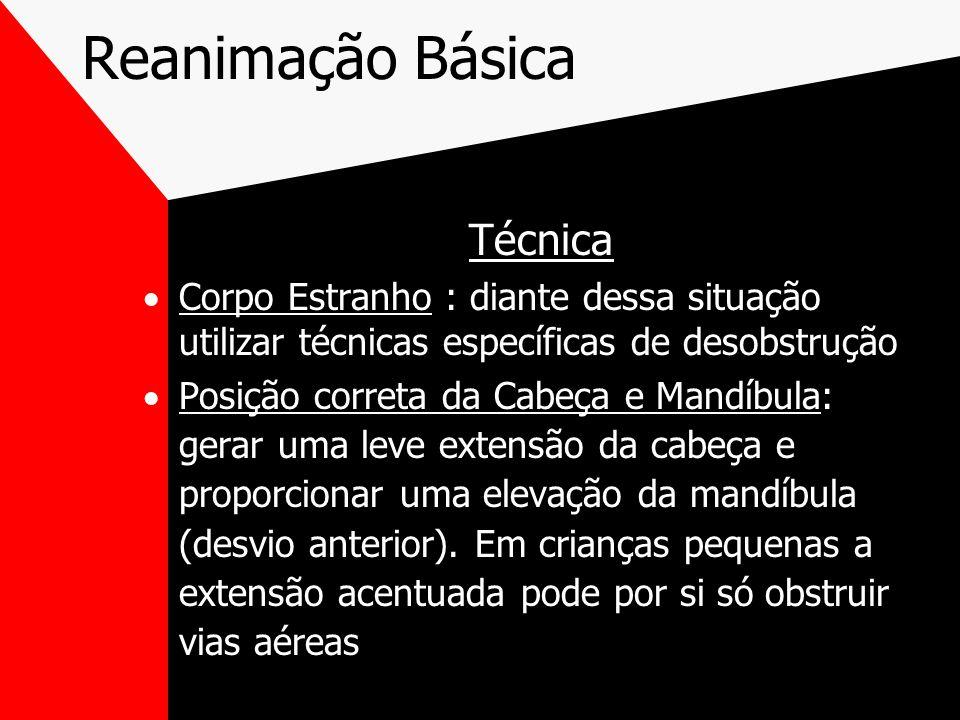 Reanimação Básica Técnica Corpo Estranho : diante dessa situação utilizar técnicas específicas de desobstrução Posição correta da Cabeça e Mandíbula: gerar uma leve extensão da cabeça e proporcionar uma elevação da mandíbula (desvio anterior).
