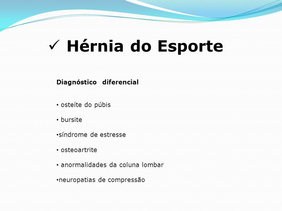 Hérnia do Esporte Diagnóstico diferencial osteíte do púbis bursite síndrome de estresse osteoartrite anormalidades da coluna lombar neuropatias de compressão