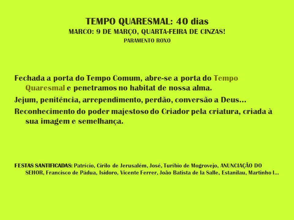 TEMPO QUARESMAL: 40 dias MARCO: 9 DE MARÇO, QUARTA-FEIRA DE CINZAS! PARAMENTO ROXO Fechada a porta do Tempo Comum, abre-se a porta do Tempo Quaresmal