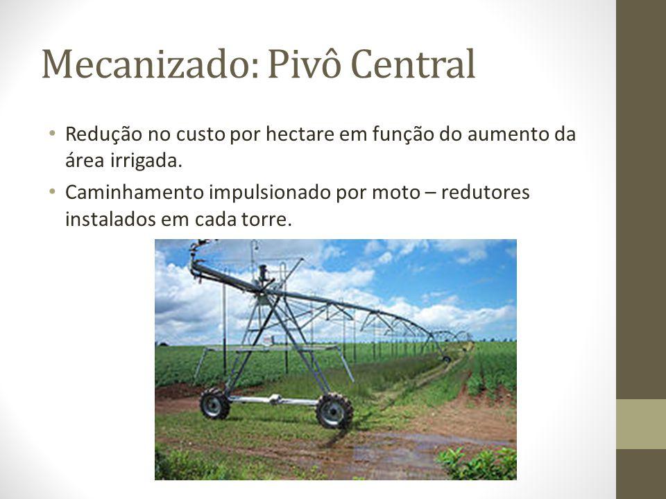 Redução no custo por hectare em função do aumento da área irrigada. Caminhamento impulsionado por moto – redutores instalados em cada torre. Mecanizad