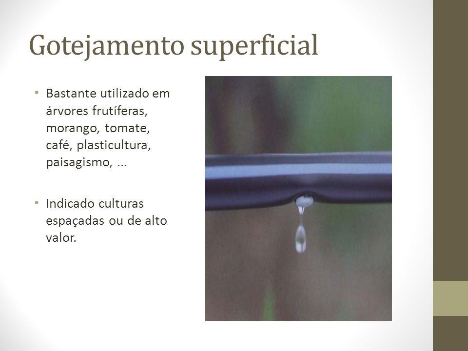 Gotejamento superficial Bastante utilizado em árvores frutíferas, morango, tomate, café, plasticultura, paisagismo,... Indicado culturas espaçadas ou