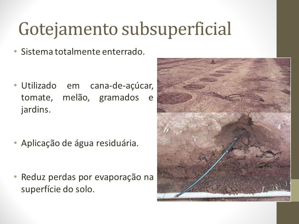Gotejamento subsuperficial Sistema totalmente enterrado. Utilizado em cana-de-açúcar, tomate, melão, gramados e jardins. Aplicação de água residuária.
