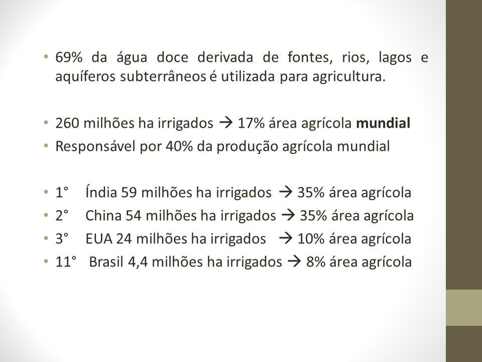 69% da água doce derivada de fontes, rios, lagos e aquíferos subterrâneos é utilizada para agricultura. 260 milhões ha irrigados 17% área agrícola mun