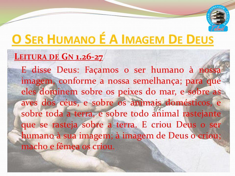 O S ER H UMANO É A I MAGEM D E D EUS L EITURA DE G N 1.26-27 E disse Deus: Façamos o ser humano à nossa imagem, conforme a nossa semelhança; para que