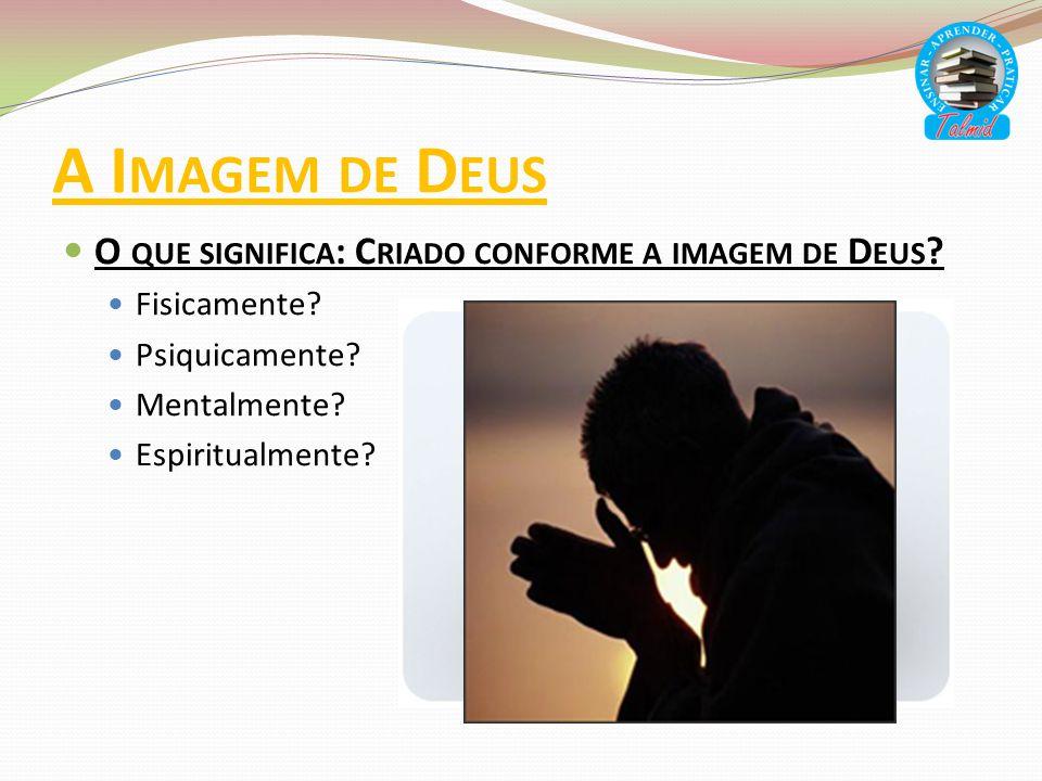 A I MAGEM DE D EUS O QUE SIGNIFICA : C RIADO CONFORME A IMAGEM DE D EUS ? Fisicamente? Psiquicamente? Mentalmente? Espiritualmente?