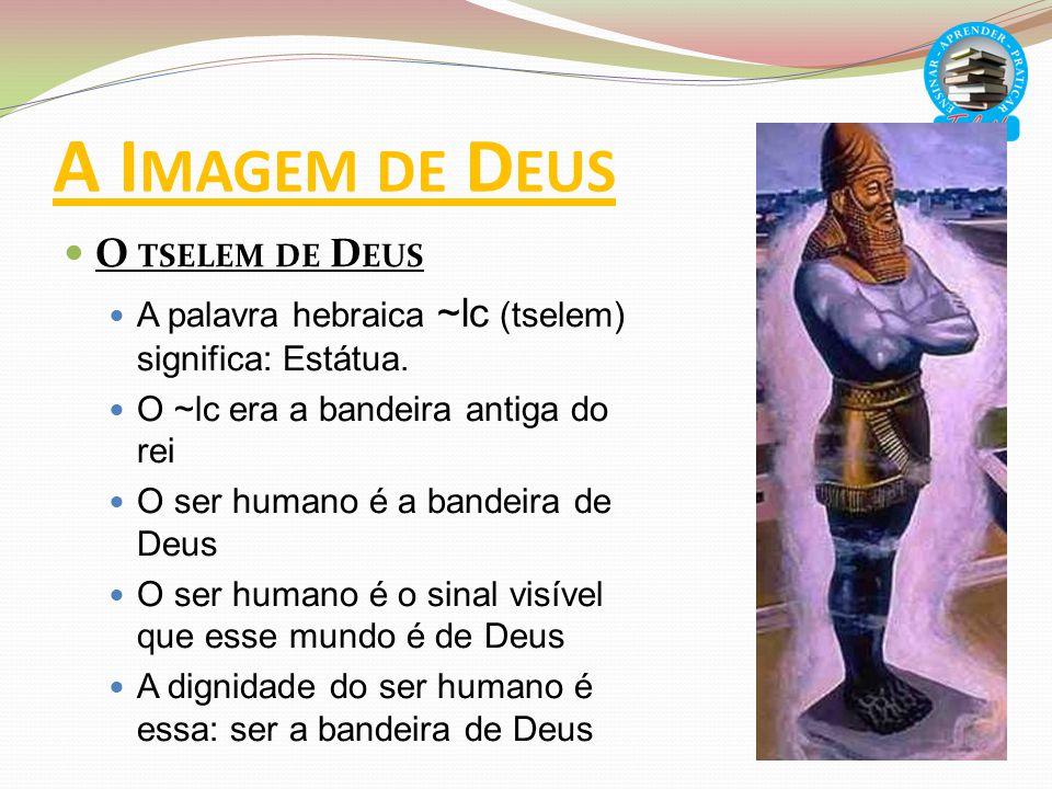 A I MAGEM DE D EUS O TSELEM DE D EUS A palavra hebraica ~lc (tselem) significa: Estátua. O ~lc era a bandeira antiga do rei O ser humano é a bandeira