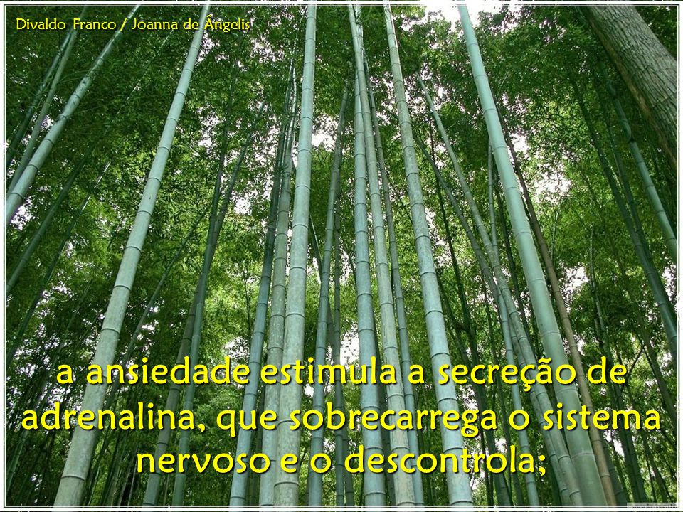 a ansiedade estimula a secreção de adrenalina, que sobrecarrega o sistema nervoso e o descontrola; Divaldo Franco / Joanna de Ângelis