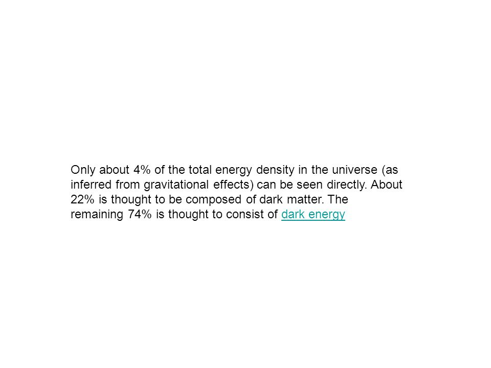 Only about 4% of the total energy density in the universe (as inferred from gravitational effects) can be seen directly. About 22% is thought to be co