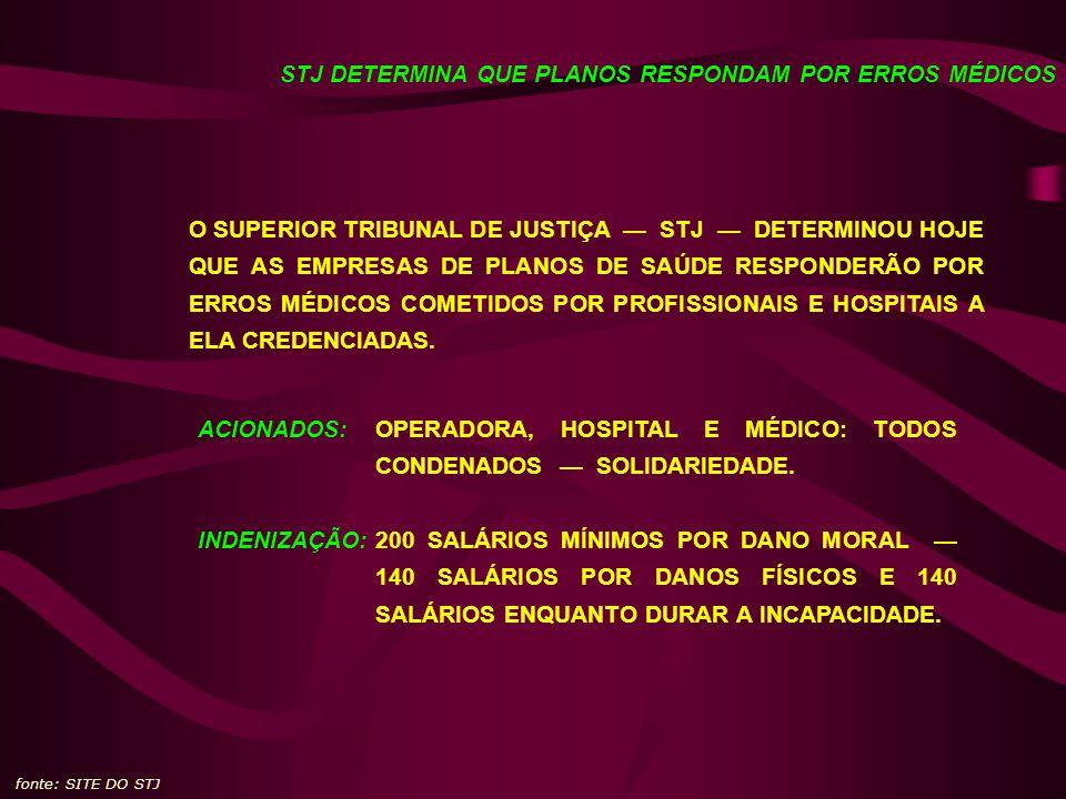 STJ DETERMINA QUE PLANOS RESPONDAM POR ERROS MÉDICOS O SUPERIOR TRIBUNAL DE JUSTIÇA STJ DETERMINOU HOJE QUE AS EMPRESAS DE PLANOS DE SAÚDE RESPONDERÃO POR ERROS MÉDICOS COMETIDOS POR PROFISSIONAIS E HOSPITAIS A ELA CREDENCIADAS.