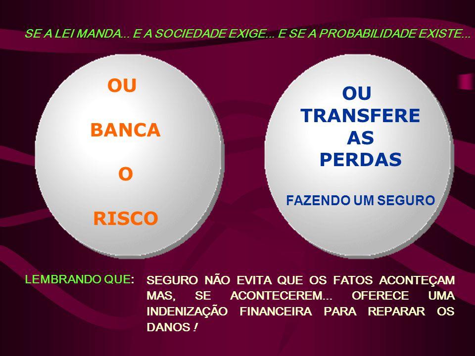 OU TRANSFERE AS PERDAS FAZENDO UM SEGURO OU BANCA O RISCO SE A LEI MANDA...