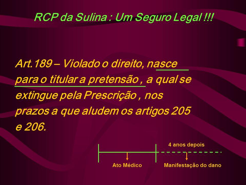 RCP da Sulina : Um Seguro Legal !!! Art.189 – Violado o direito, nasce para o titular a pretensão, a qual se extingue pela Prescrição, nos prazos a qu