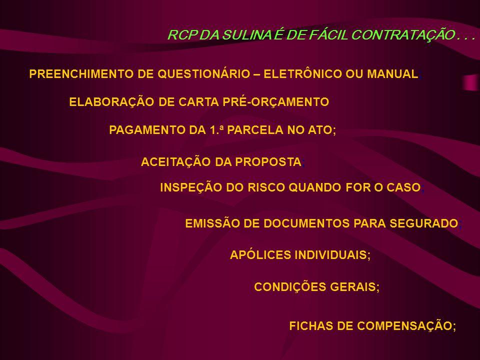 RCP DA SULINA É DE FÁCIL CONTRATAÇÃO... PREENCHIMENTO DE QUESTIONÁRIO – ELETRÔNICO OU MANUAL; ELABORAÇÃO DE CARTA PRÉ-ORÇAMENTO ACEITAÇÃO DA PROPOSTA;