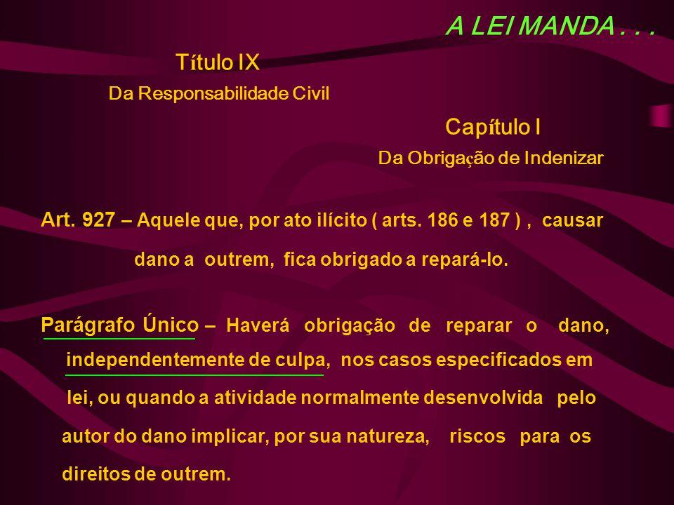 A LEI MANDA... T í tulo IX Da Responsabilidade Civil Cap í tulo I Da Obriga ç ão de Indenizar Art. 927 – Aquele que, por ato ilícito ( arts. 186 e 187