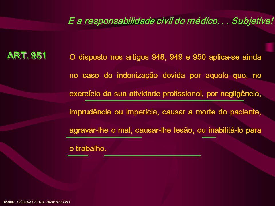 E a responsabilidade civil do médico... Subjetiva! fonte: CÓDIGO CIVIL BRASILEIRO ART. 951 O disposto nos artigos 948, 949 e 950 aplica-se ainda no ca