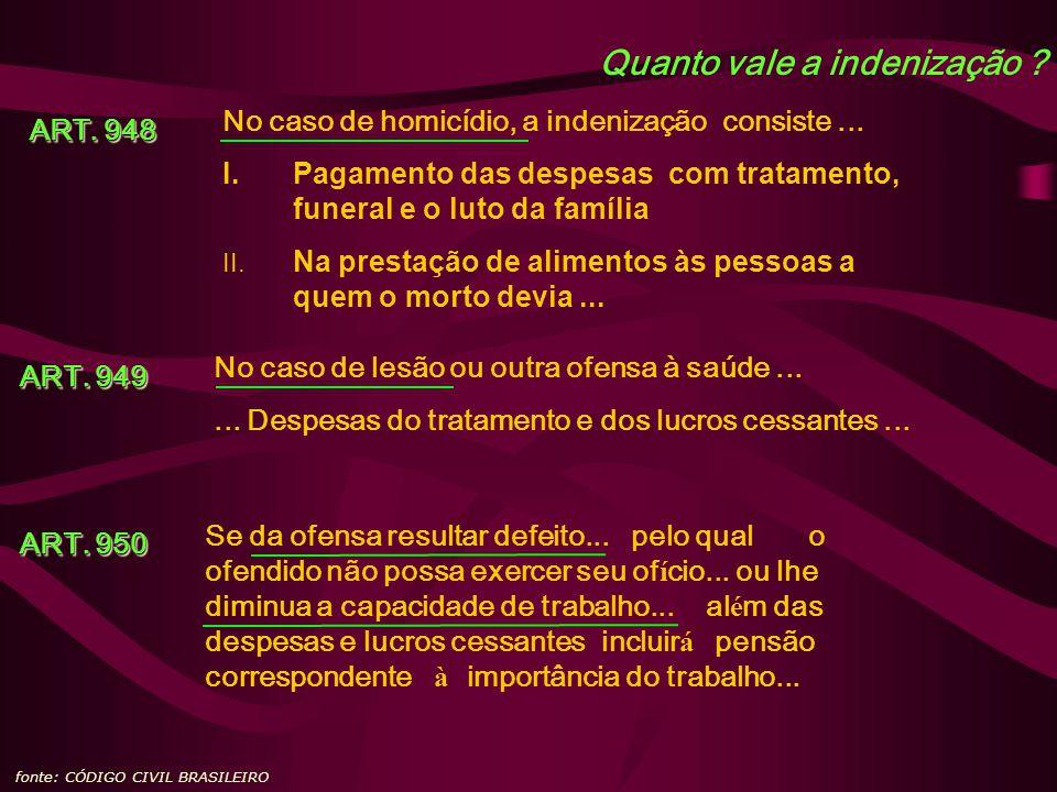 Quanto vale a indenização ? fonte: CÓDIGO CIVIL BRASILEIRO ART. 948 ART. 948 No caso de homicídio, a indenização consiste... I.Pagamento das despesas