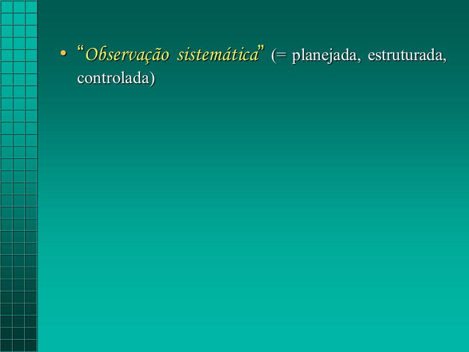Observação sistemática (= planejada, estruturada, controlada) Observação sistemática (= planejada, estruturada, controlada)