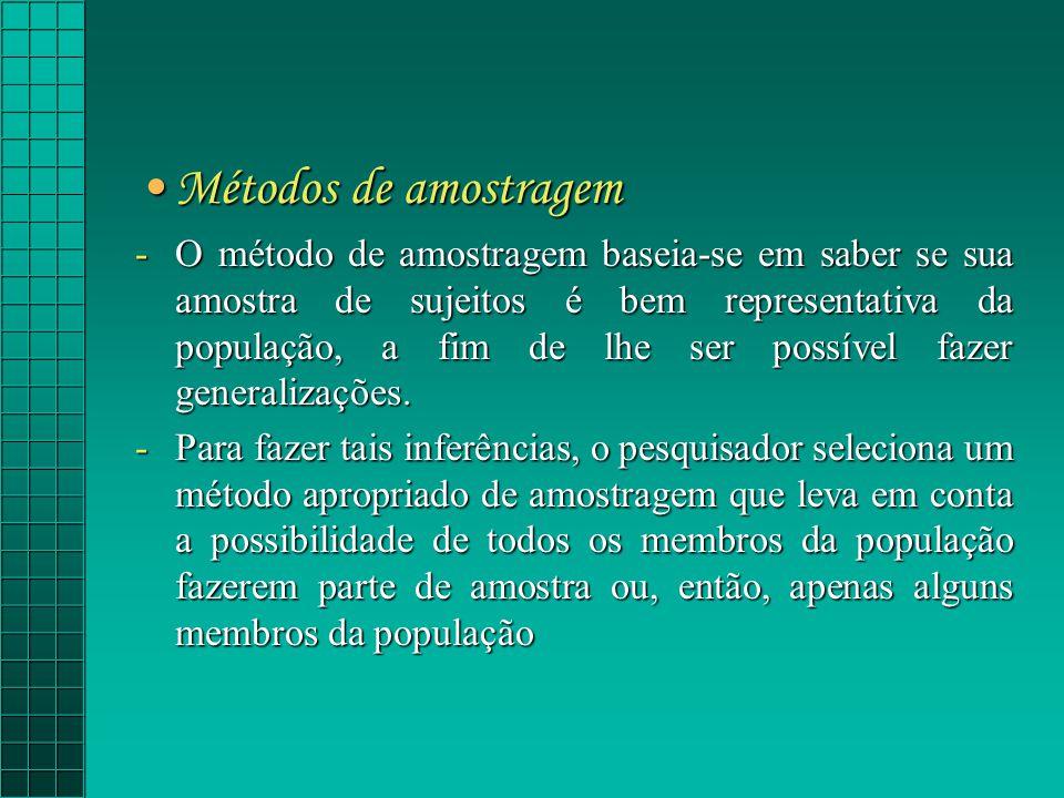 Métodos de amostragemMétodos de amostragem O método de amostragem baseia-se em saber se sua amostra de sujeitos é bem representativa da população, a fim de lhe ser possível fazer generalizações.