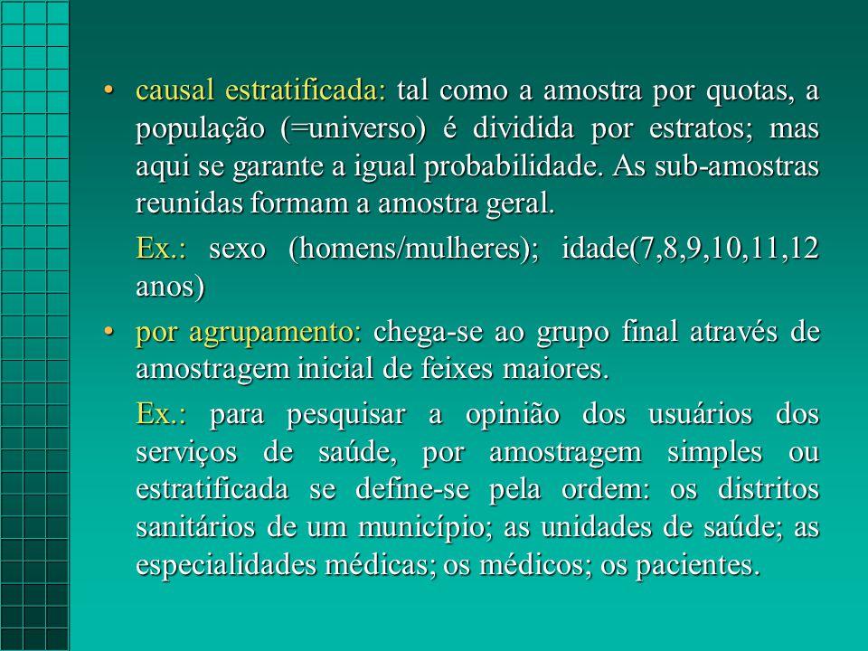 causal estratificada: tal como a amostra por quotas, a população (=universo) é dividida por estratos; mas aqui se garante a igual probabilidade.