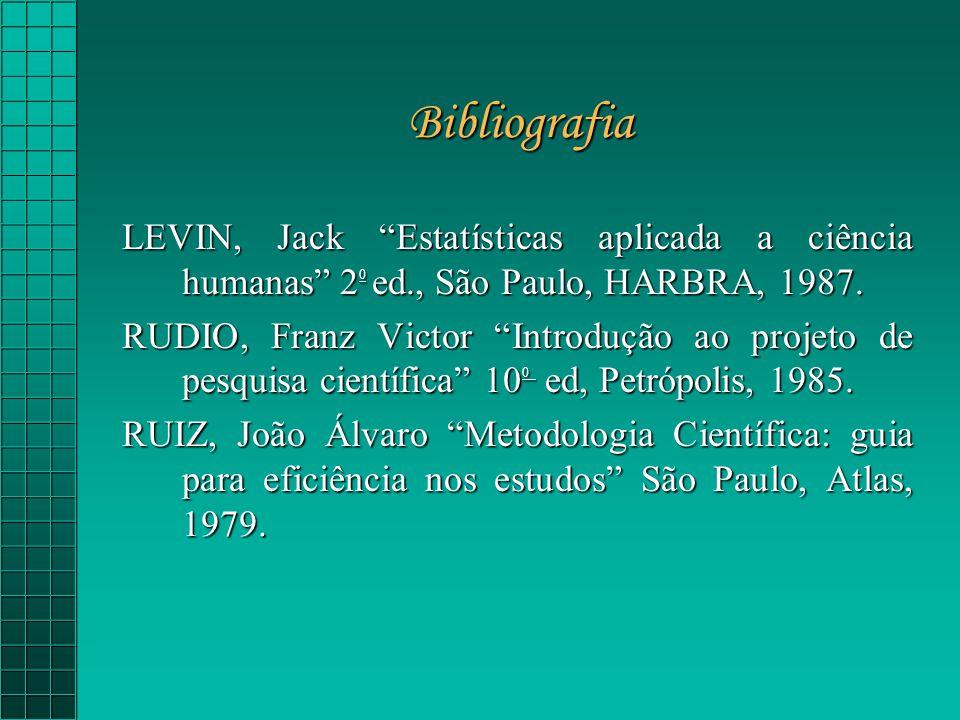 Bibliografia LEVIN, Jack Estatísticas aplicada a ciência humanas 2 0 ed., São Paulo, HARBRA, 1987.