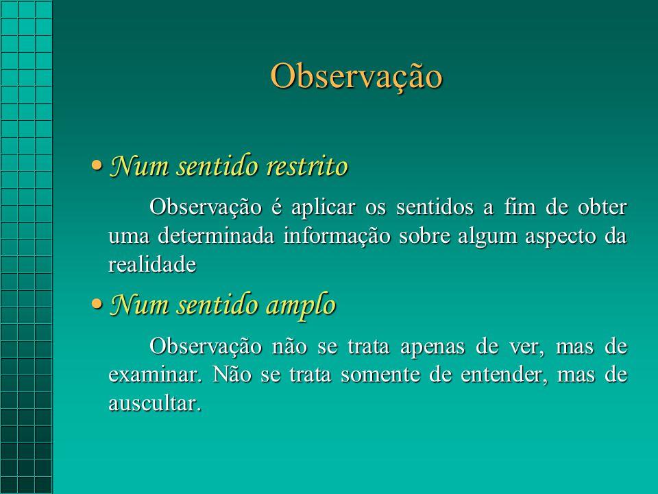 Observação Num sentido restritoNum sentido restrito Observação é aplicar os sentidos a fim de obter uma determinada informação sobre algum aspecto da realidade Num sentido amploNum sentido amplo Observação não se trata apenas de ver, mas de examinar.