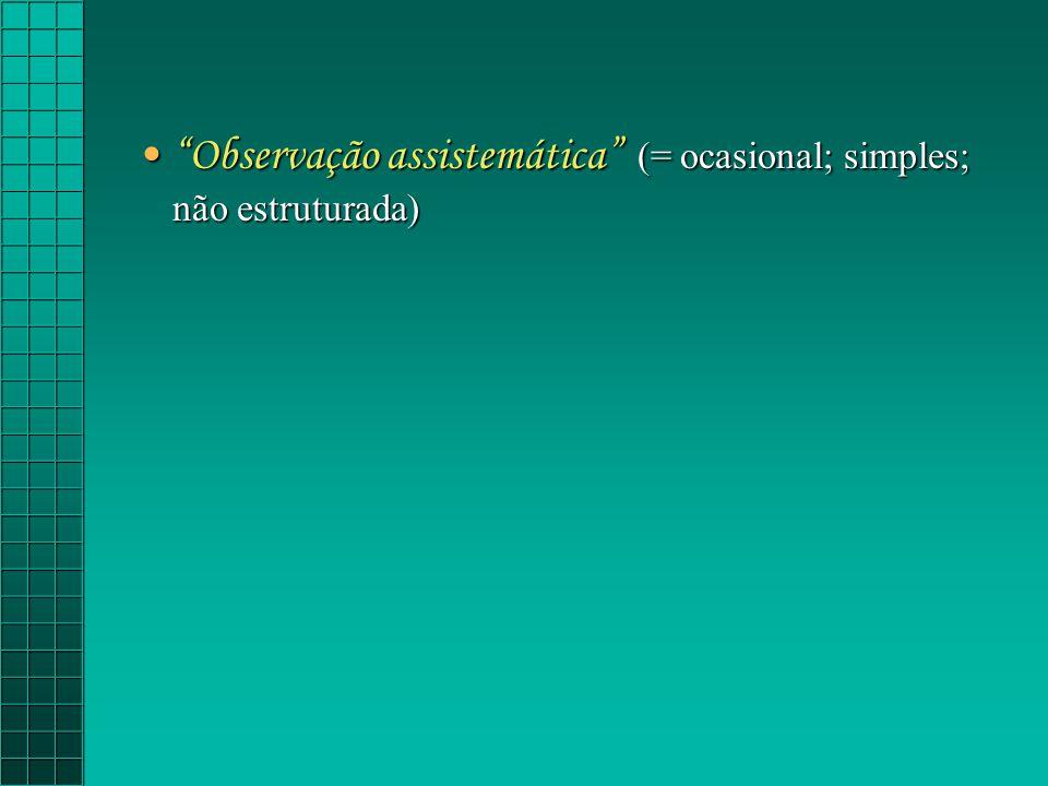 Observação assistemática (= ocasional; simples; não estruturada)Observação assistemática (= ocasional; simples; não estruturada)
