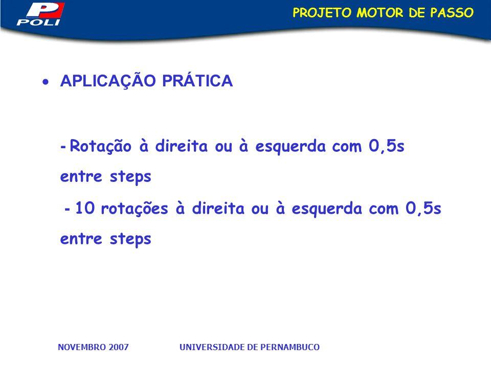 UNIVERSIDADE DE PERNAMBUCONOVEMBRO 2007 PROJETO MOTOR DE PASSO APLICAÇÃO PRÁTICA - Rotação à direita ou à esquerda com 0,5s entre steps - 10 rotações à direita ou à esquerda com 0,5s entre steps