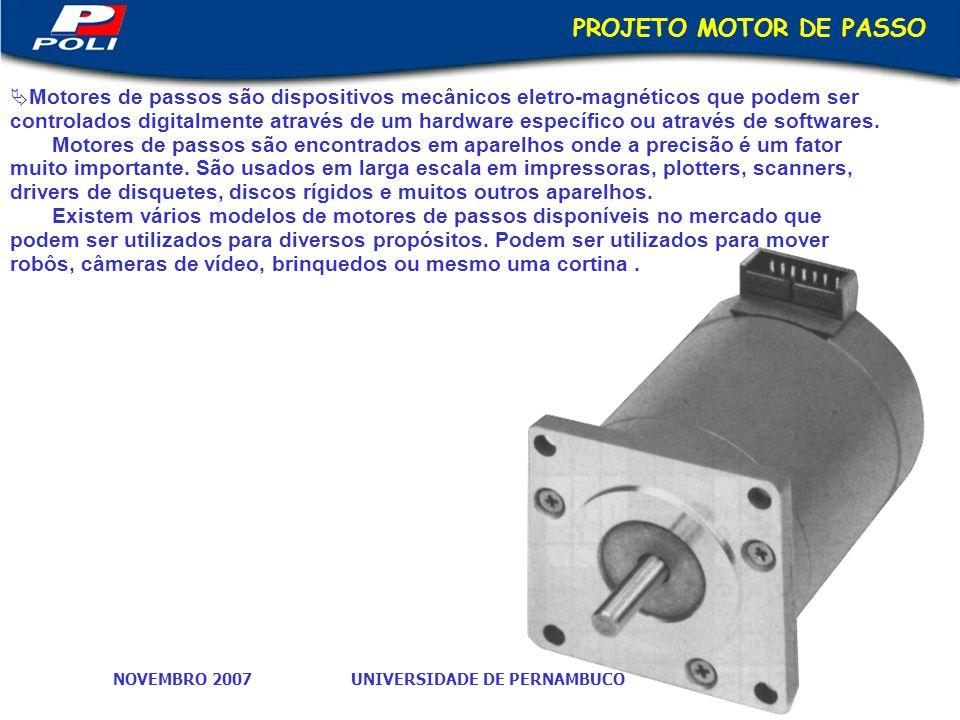 UNIVERSIDADE DE PERNAMBUCONOVEMBRO 2007 PROJETO MOTOR DE PASSO Motores de passos são dispositivos mecânicos eletro-magnéticos que podem ser controlados digitalmente através de um hardware específico ou através de softwares.