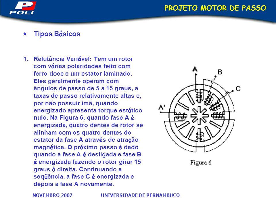 UNIVERSIDADE DE PERNAMBUCONOVEMBRO 2007 PROJETO MOTOR DE PASSO Tipos B á sicos 1.Relutância Vari á vel: Tem um rotor com v á rias polaridades feito com ferro doce e um estator laminado.
