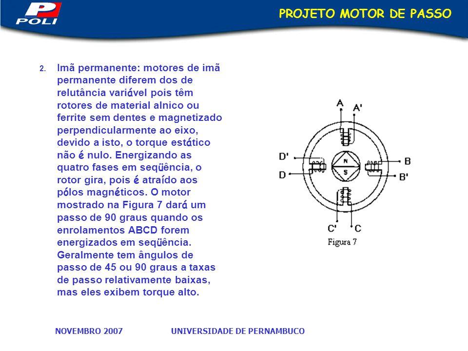 UNIVERSIDADE DE PERNAMBUCONOVEMBRO 2007 PROJETO MOTOR DE PASSO 2.