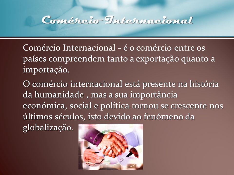 Comércio Internacional Comércio Internacional - é o comércio entre os países compreendem tanto a exportação quanto a importação. O comércio internacio