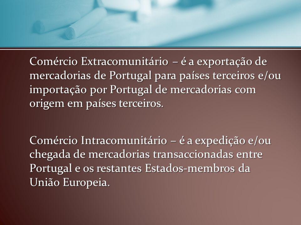 Comércio Extracomunitário – é a exportação de mercadorias de Portugal para países terceiros e/ou importação por Portugal de mercadorias com origem em