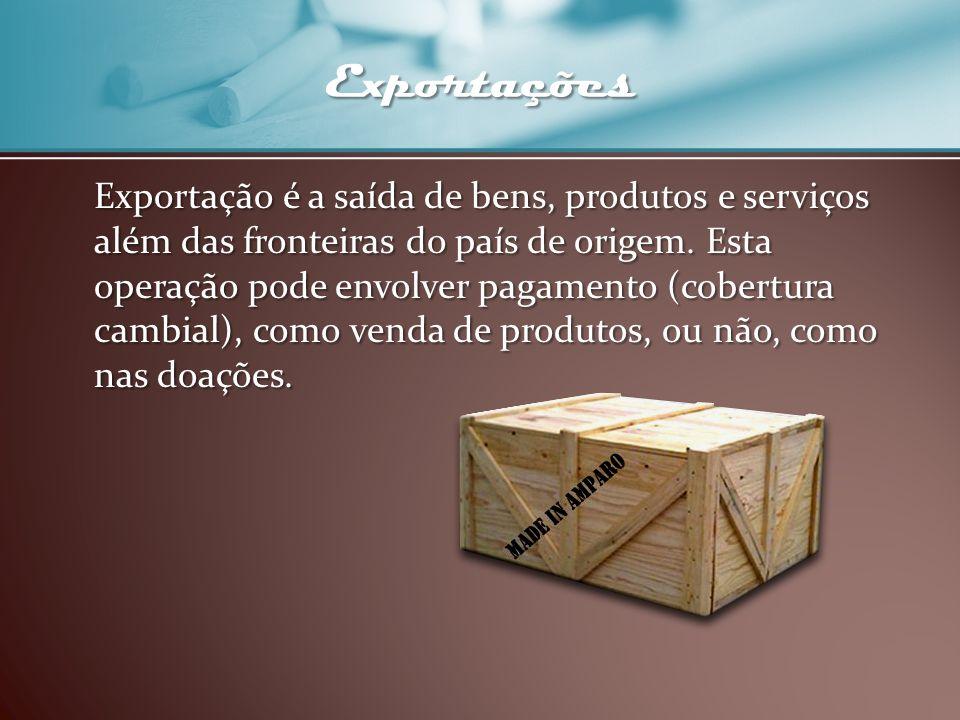 Exportações Exportação é a saída de bens, produtos e serviços além das fronteiras do país de origem. Esta operação pode envolver pagamento (cobertura