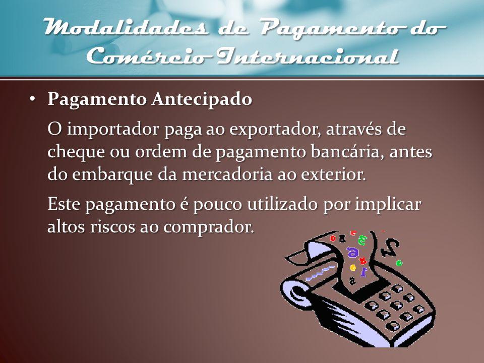 Modalidades de Pagamento do Comércio Internacional Pagamento Antecipado Pagamento Antecipado O importador paga ao exportador, através de cheque ou ord