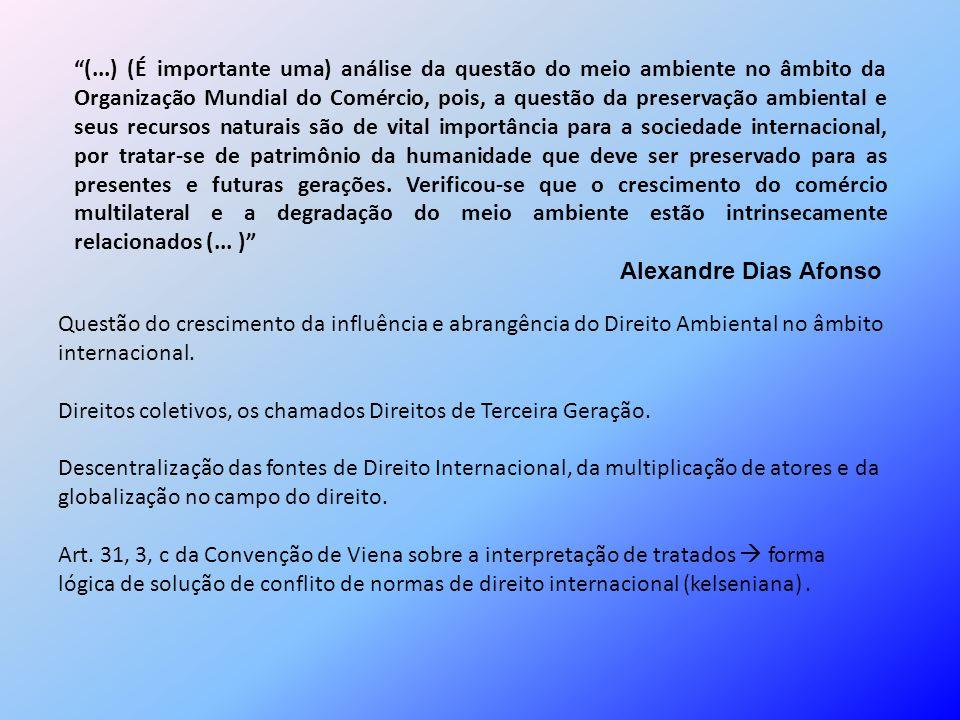 (...) (É importante uma) análise da questão do meio ambiente no âmbito da Organização Mundial do Comércio, pois, a questão da preservação ambiental e
