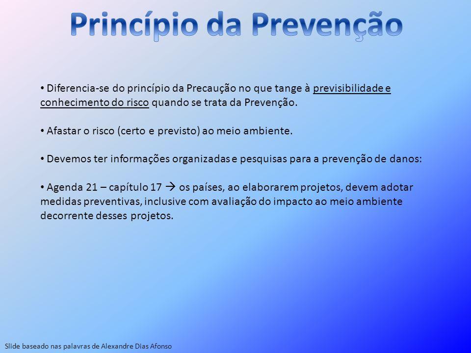 Diferencia-se do princípio da Precaução no que tange à previsibilidade e conhecimento do risco quando se trata da Prevenção. Afastar o risco (certo e