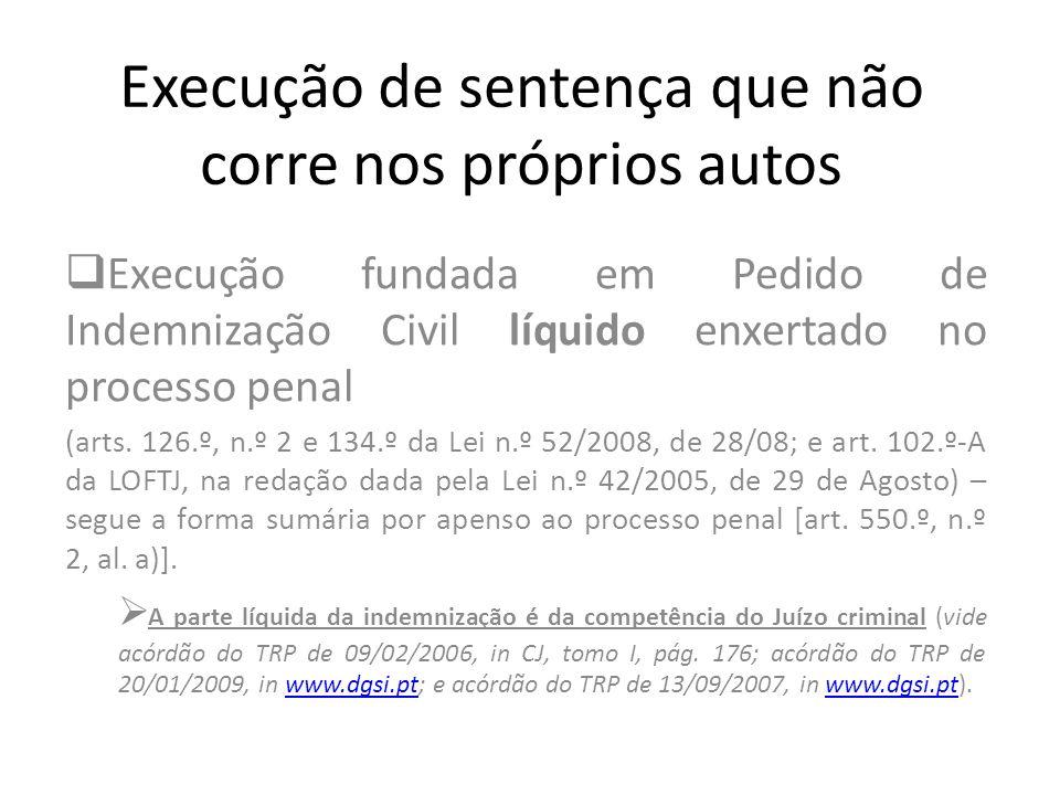 Execução de sentença que não corre nos próprios autos Execução fundada em Pedido de Indemnização Civil líquido enxertado no processo penal (arts. 126.