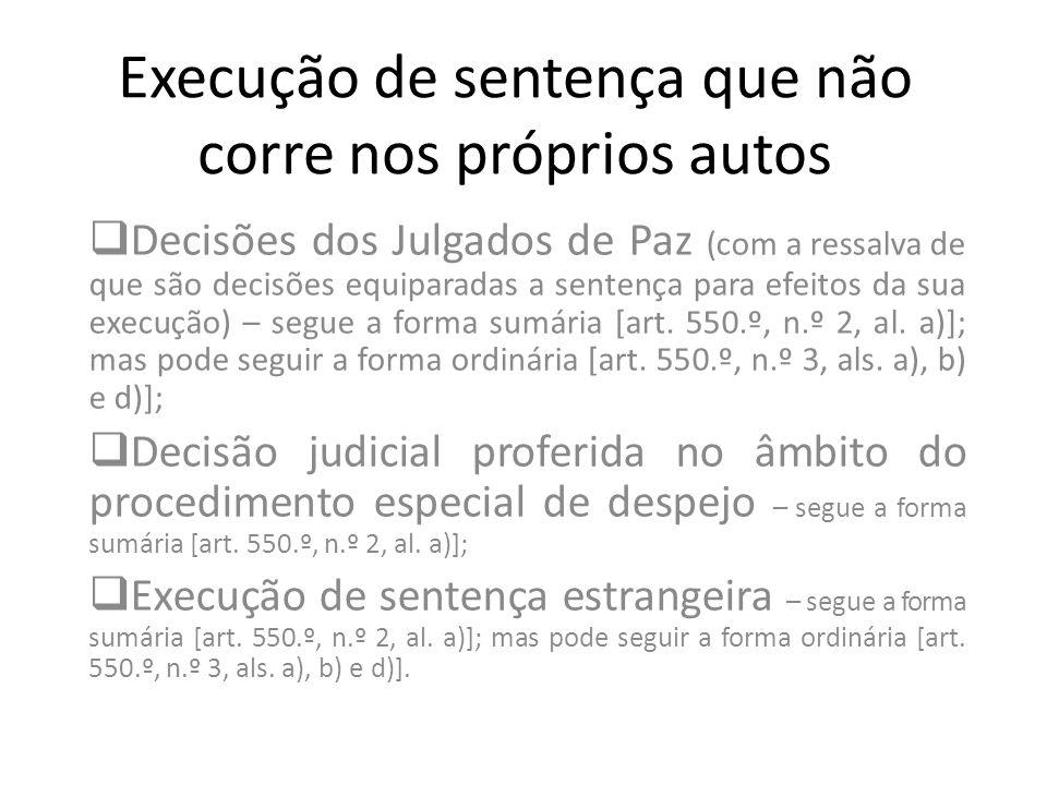 Execução de sentença que não corre nos próprios autos Decisões dos Julgados de Paz (com a ressalva de que são decisões equiparadas a sentença para efe