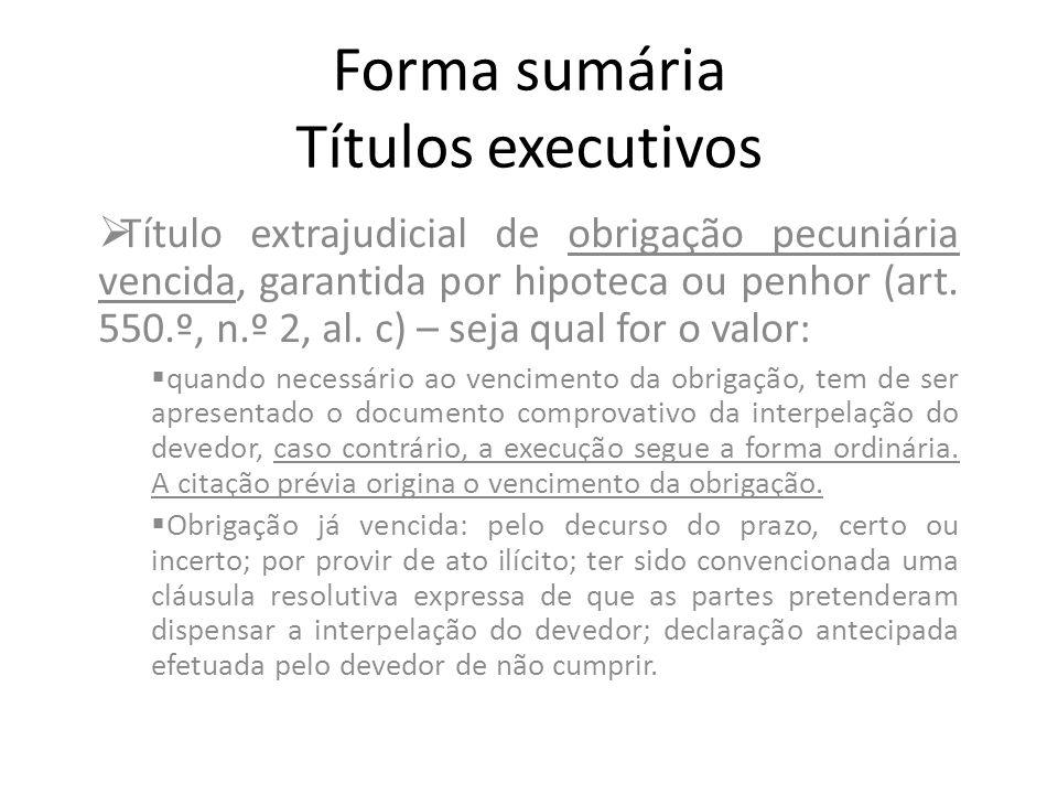 Forma sumária Títulos executivos Título extrajudicial de obrigação pecuniária vencida, garantida por hipoteca ou penhor (art. 550.º, n.º 2, al. c) – s