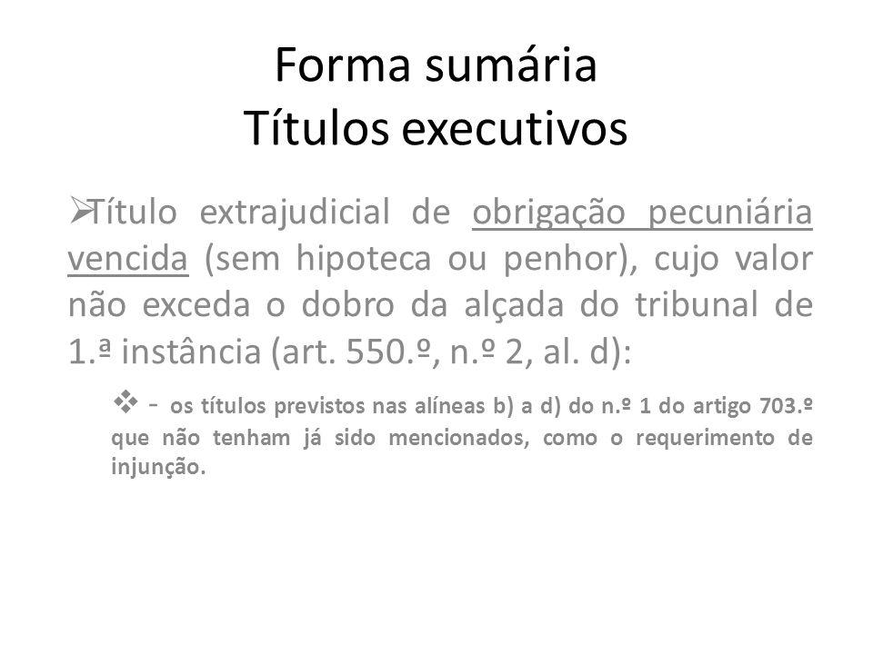 Forma sumária Títulos executivos Título extrajudicial de obrigação pecuniária vencida (sem hipoteca ou penhor), cujo valor não exceda o dobro da alçad