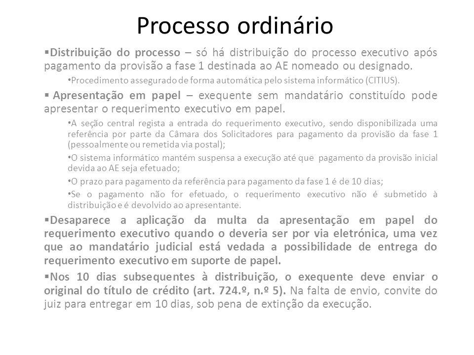 Processo ordinário Distribuição do processo – só há distribuição do processo executivo após pagamento da provisão a fase 1 destinada ao AE nomeado ou