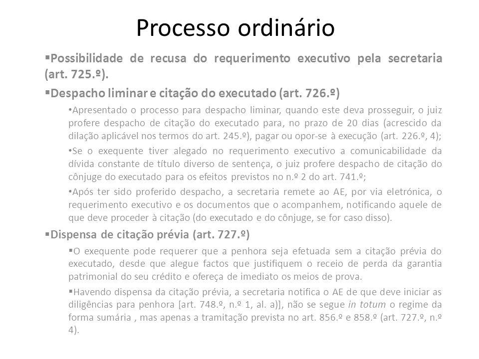 Processo ordinário Possibilidade de recusa do requerimento executivo pela secretaria (art. 725.º). Despacho liminar e citação do executado (art. 726.º