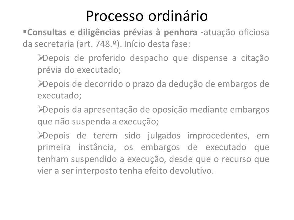Processo ordinário Consultas e diligências prévias à penhora -atuação oficiosa da secretaria (art. 748.º). Início desta fase: Depois de proferido desp