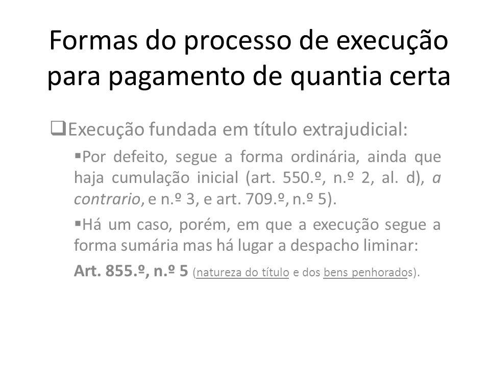 Formas do processo de execução para pagamento de quantia certa Execução fundada em título extrajudicial: Por defeito, segue a forma ordinária, ainda q