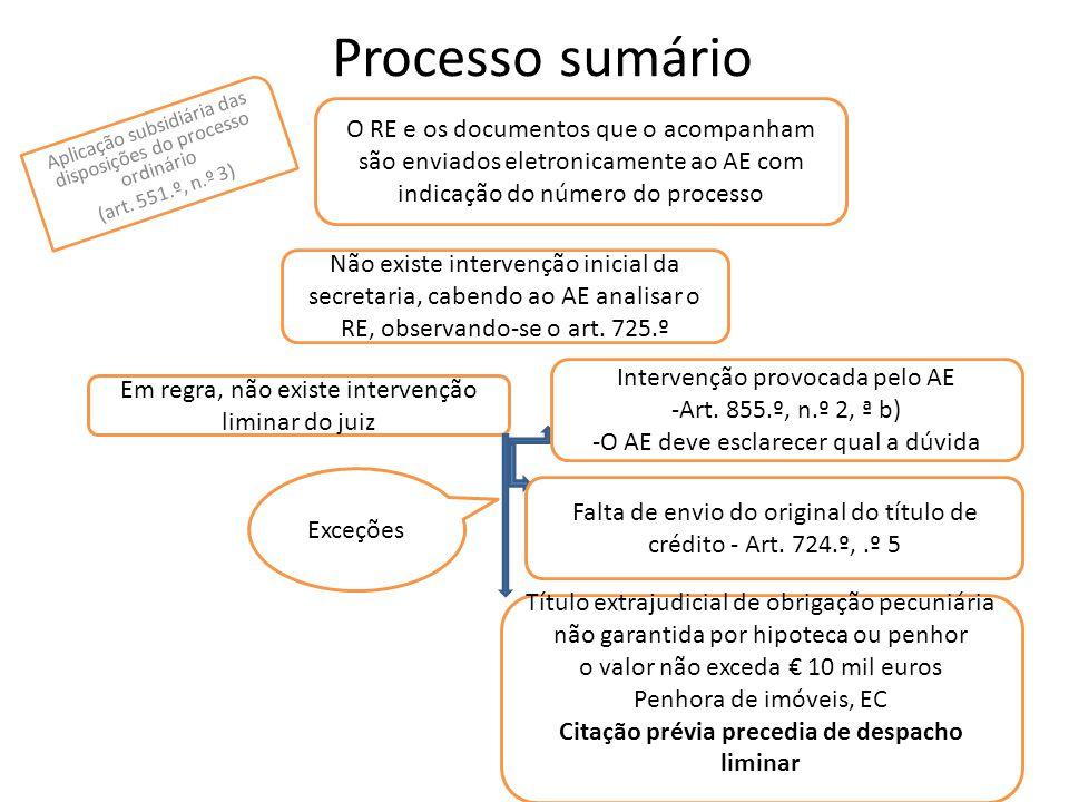 Processo sumário O RE e os documentos que o acompanham são enviados eletronicamente ao AE com indicação do número do processo Não existe intervenção i