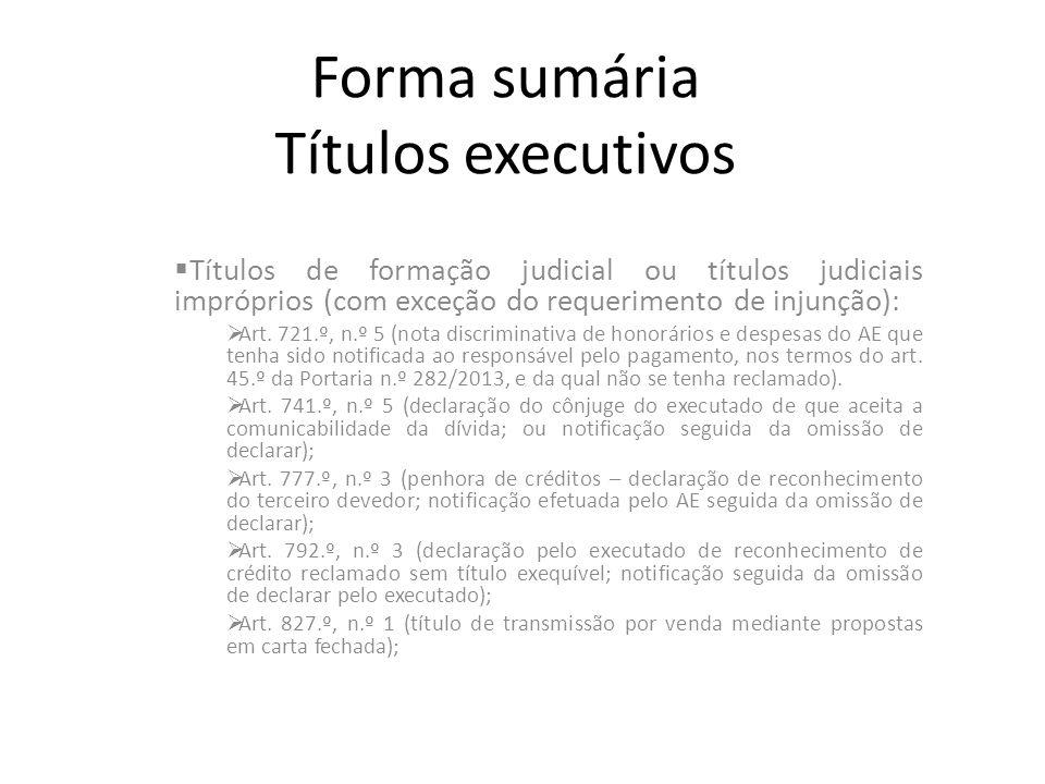 Forma sumária Títulos executivos Títulos de formação judicial ou títulos judiciais impróprios (com exceção do requerimento de injunção): Art. 721.º, n