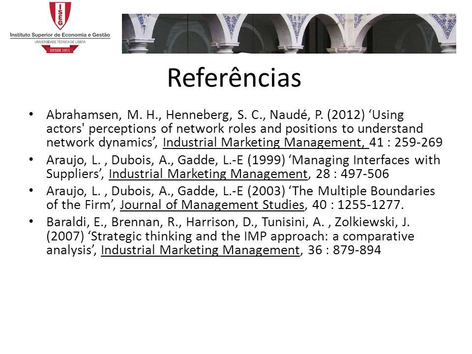 Referências Abrahamsen, M. H., Henneberg, S. C., Naudé, P.