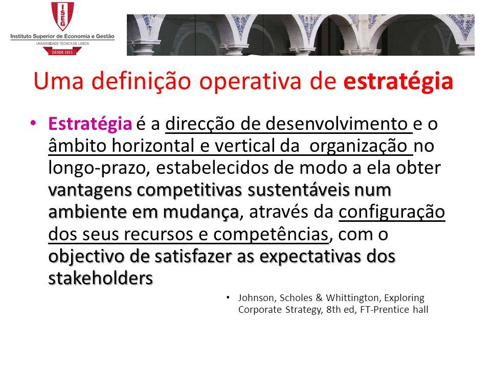 Uma definição operativa de estratégia vantagens competitivas sustentáveis num ambiente em mudança objectivo de satisfazer as expectativas dos stakehol